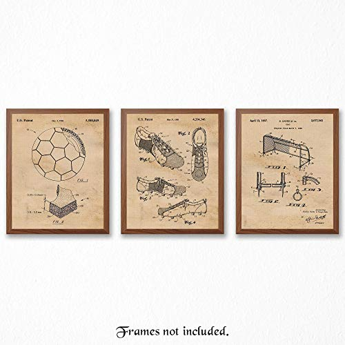 Original Soccer Patent Art Poster Prints - Set of 3 (Three) Photos - 8x10 Unframed - Great Wall Art Decor Gifts Under $15 for World Cup Players, Fans, Coach, Man - Cup Pictures World Soccer