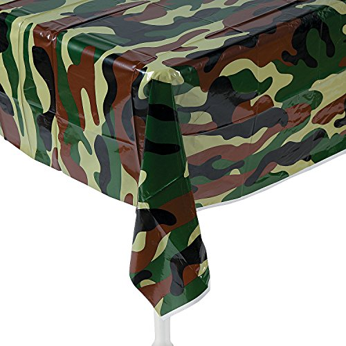 Army Party Supplies (Fun Express Camouflage Plastic Tablecover Camo Tablecloth - 54