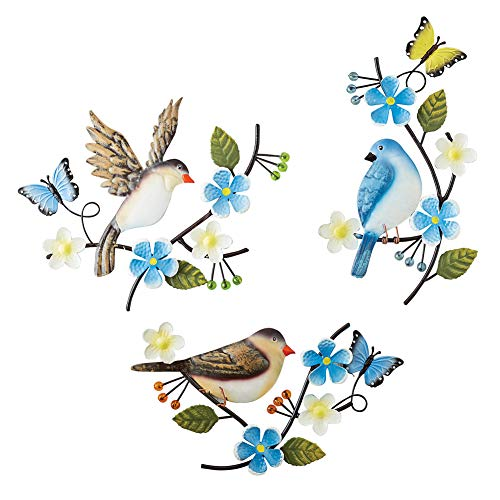 - Collections Etc Birds and Flowers Wall Decor - Set of 3, Seasonal Hand-Painted Accent with Scrolling Branches