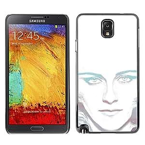 TECHCASE**Cubierta de la caja de protección la piel dura para el ** Samsung Galaxy Note 3 N9000 N9002 N9005 ** Portrait White Light Woman Alien Green Eyes