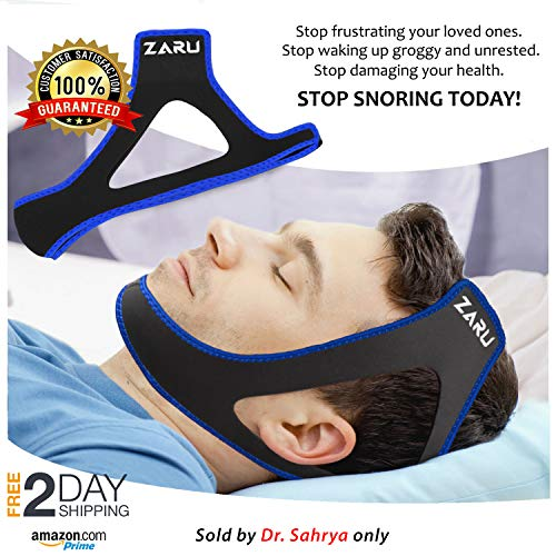 ZARU Premium Anti Snore Chin Strap [2019 Upgraded Version] - Advanced Snoring Solution Scientifically Designed to Stop Snoring Naturally and Give You The Best Sleep of Your Life