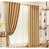 GFYWZ Curtains Polyester Jacquard European style Duplex printing Blackout Noise Reducting Pleat Solid Thermal Window Drapes Bedroom Decorating , beige , E