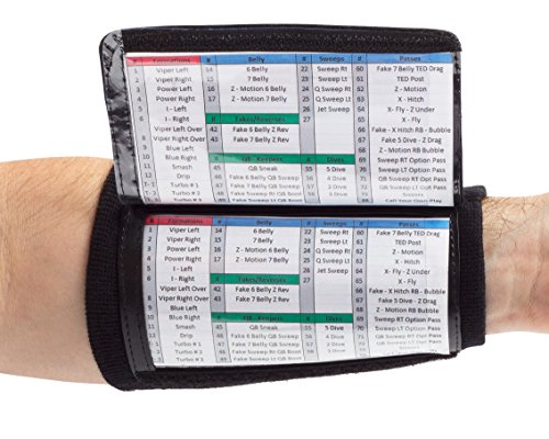 WristCoaches QB Wrist Coach - Playbook Wristband (Youth - Black) - Heavy Duty Football Wristbands for Boys with Three Playsheet Compartments - Perfect for Flag Football and Tackle Football -