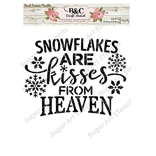 Words quote stencil Snowflakes are kisses from heaven stencil for craft and home decoration CFT22