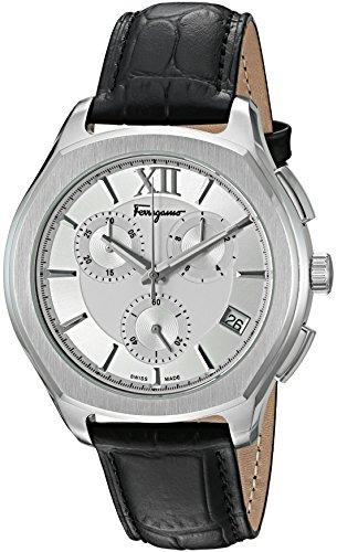 Salvatore Ferragamo Mens Lungarno Chrono Quartz Stainless Steel And Leather Casual Watch  Color Black  Model  Flf950015