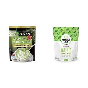 Ito En Matcha Green Tea, Sweet Powder, 17.5 Ounce & Matcha Love Green Tea Powder, Sweetened, 8 Ounce Packet