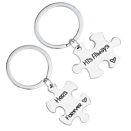Amazon.com: VOSAREA 2pcs Letters Printed Keychains Puzzle ...