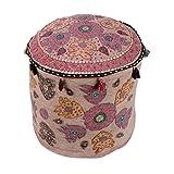 Cultural Ottoman Beige Cotton Floral Patch Work Pouf Cover By Rajrang