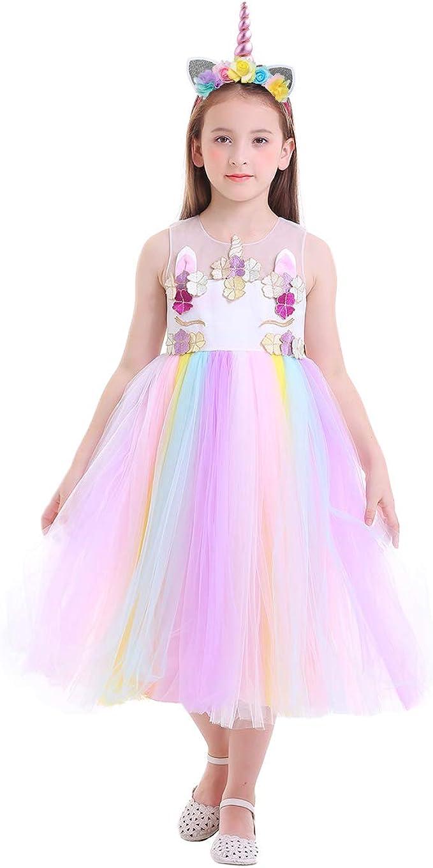 IWEMEK Princesa Disfraz de Halloween Unicornio Lentejuelas Vestido ...
