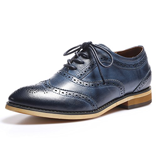 Mona Flying Women's Leather Perforated Lace-up Oxfords Shoes for Women Wingtip Multicolor Brougue Shoes by Mona Flying