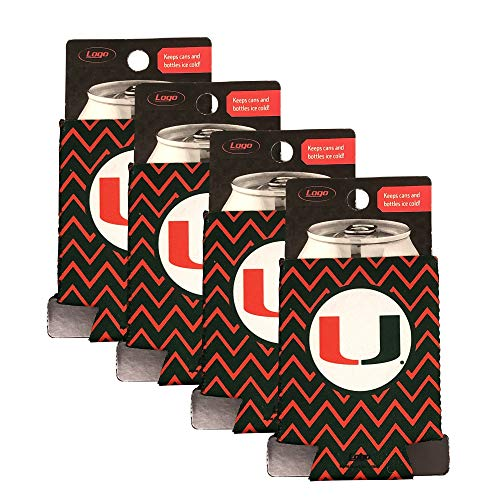 Logo Miami Hurricanes Can Cooler Beverage Cover Sleeve Neoprene Wrap Beer Soda Pop Beverages Juice Cans Insulation Holder NCAA Alumni Student Monogram Chevron Green Orange Set of 4