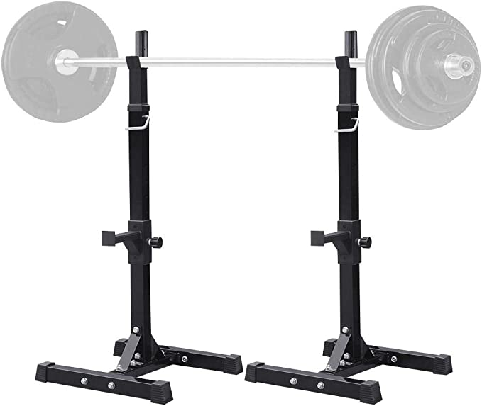 Amazon Com Yaheetech 45 71 Inch Adjustable Squat Rack And Bench Press Rack Portable Olympic Weight Stand Pair Of Home Gym Squat Machine Sports Outdoors