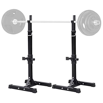 Used Squat Rack >> Yaheetech 45 71 Inch Adjustable Squat Rack And Bench Press Rack Portable Olympic Weight Barbell Dumbbells Rack Stand Pair Of Home Gym Squat Machine