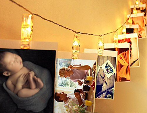 LED String Lights 16 Photo Clips 15 FT Waterproof Decorative Lights Timer Modes Battery Powered Operated for Christmas Holiday Party, Bedroom, Indoor/Outdoor, Hanging Pictures, Postcards , Warm White (Light 15' String Led)