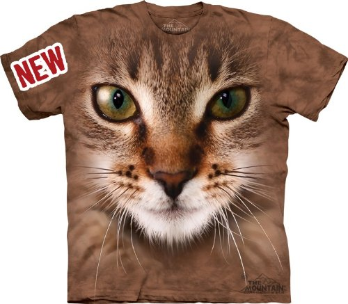 Mountain Striped Cat Face Adult Size T-shirt , Brown , XX-Large Striped Cat Face