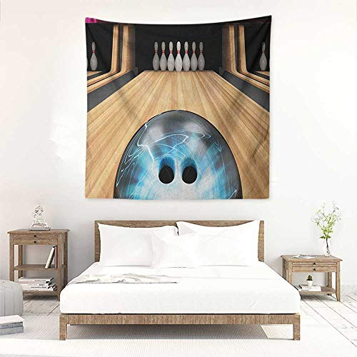 Bowling Party Square Tapestry Hippie Ball Rolling on a Wooden Lane Image Activity Fun Competition and Challenge Home Decorations for Bedroom Dorm Decor 32W x 32L INCH Multicolor