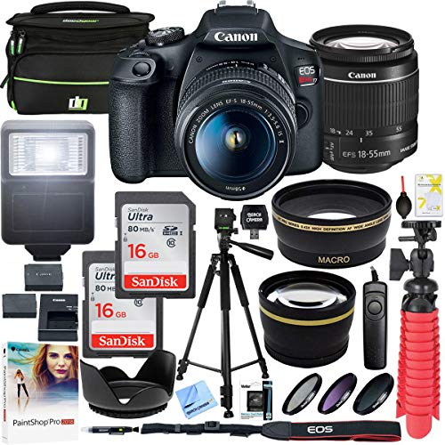 Canon EOS Rebel T7 DSLR Camera with EF-S 18-55mm f/3.5-5.6 is II Lens Plus Double Battery Tripod Cleaning Kit and Deco Gear Deluxe Case Accessory Bundle (Digital Camera Canon Rebel T5i)