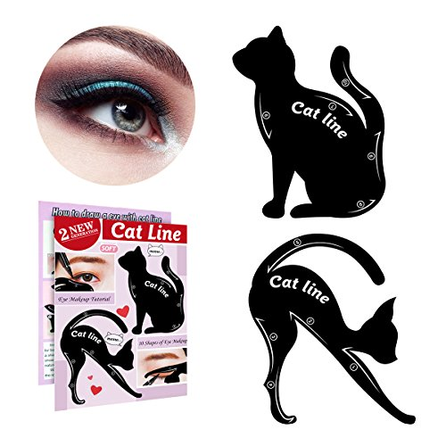 Easy Cat Makeup (IBEET Cat Eyeliner Stamp Stencil Kit Cat Shape Eye Shadow Guide Template Multifunction Reusable Makeup Beauty Smoky Eye Models Shaper Tool (Silicone, 2 PCS))