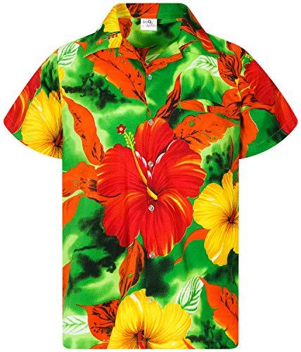 King Kameha Funky Hawaiian Shirt, Shortsleeve, Big Flower, Green, XS ()