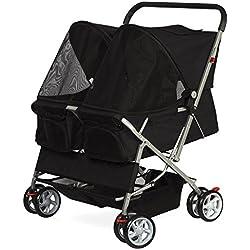 Alek...Shop Stroller Pet Travel Folding Carrier Dog Cat 4 Wheel DOUBLE TWIN Walk Jogger