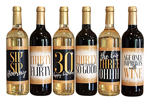 6 30th Birthday Wine Bottle Labels or Stickers