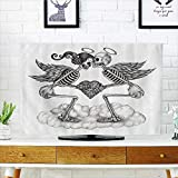 "L-QN Dust Resistant Television Protector Cupids Skull Skelet Festival Wings Wedding Vintage Valentine Smiles tv dust Cover W25 x H45 INCH/TV 47""-50"""