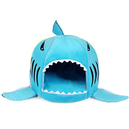 Ryan Soft tiburón tiburón Mascota Nido Antideslizante Gato Cama de Perro Suave Acogedor Saco de Dormir