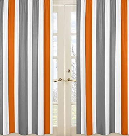 Gray, Orange and White Window Treatment Panels for Stripe Collection - Set of 2