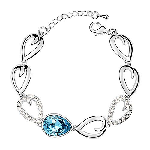 Youfir Heart-Shaped Chain Style Swarovski Elements Crystals Drops of Water Adjustable Bracelet(B-Sky Blue