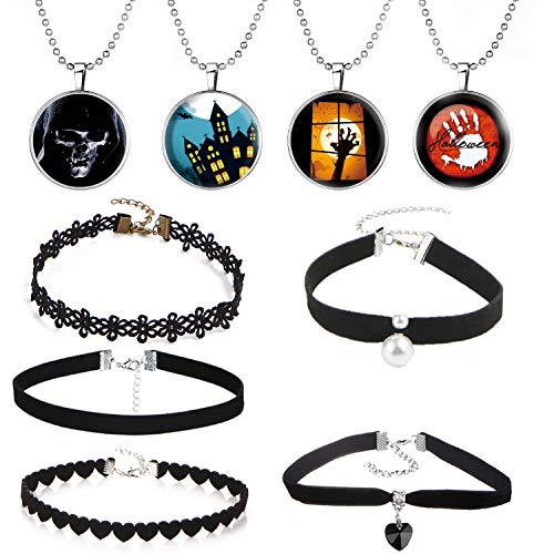 ISAACSONG.DESIGN Halloween Party Statement Glow in Dark Long Chain Necklace Gothic Costume Bib Choker Set Women Girls (9 Pcs Set)]()