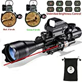AR15 Tactical Rifle Scope C4-16x50EG 3 in 1 Hunting Dual Illuminated with Red Laser Sight and 4 Holographic Reticle Red and Green Dot Sight (12 Month Warranty) for 22&11mm Weaver/Picatinny Rail Mount
