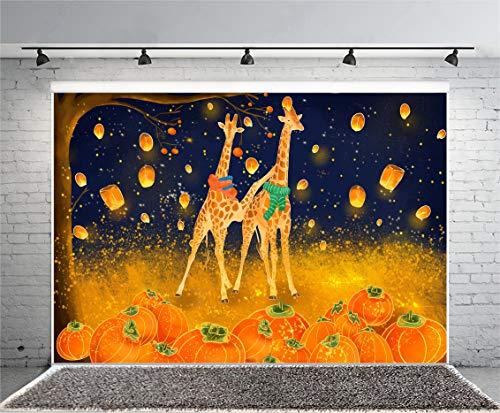 Leyiyi 5x3ft Cartoon Giraff Photography Background Abstract Galaxy Twinkle Star Oilpainting Enchanted Pumpkin Backdrop Thanksgiving Day Harvest Autumn Kongmin Lights Photo Portrait Vinyl Studio Prop ()