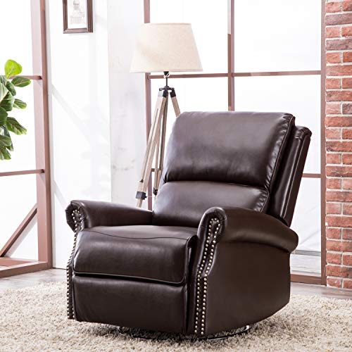 CANMOV Breathable Bonded Leather Swivel Rocker Recliner Chair, Contemporary Design Single Seat Sofa Manual Recliner Chair with Overstuffed Back, ()
