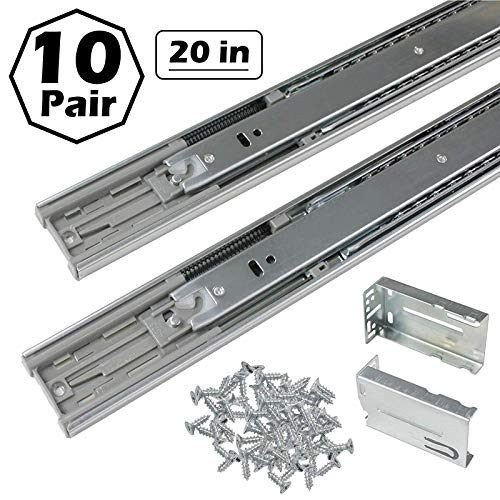 Gobrico 20-Inch Rear/Side Mount Soft Close Ball Bearing Drawer Slides with Brackets Full Extension, 10Pairs
