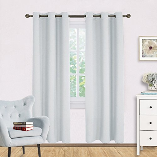 Easy Drape (Room Darkening Window Curtain Panels - NICETOWN Easy Care Solid Thermal Insulated Grommet Room Darkening Draperies / Drapes for Bedroom (2 Panels,42 by 72,Platinum-Greyish White))