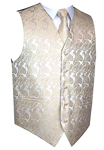 Men's 3pc Paisley Design Dress Vest Tie Handkerchief Set For Suit or Tuxedo (M (Chest 42), Beige) (Tuxedo Vest Colors)