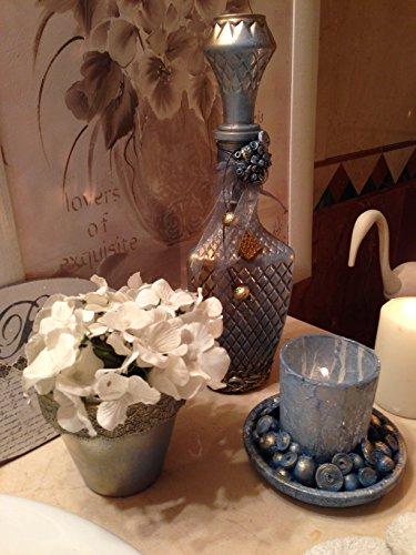 Botella, porta velas,y macetero pintados a mano .Conjunto de tres piezas: Amazon.es: Handmade