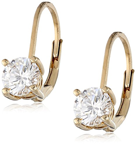Yellow Gold Plated Sterling Silver Lever back Earrings set with Round Swarovski Zirconia (1 cttw)