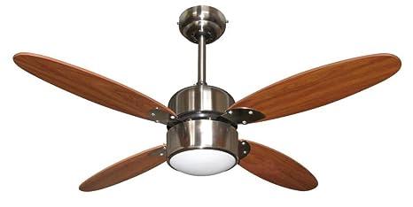 Plafoniere Con Pale : Zephir zfr m ventilatore da soffitto con lampada marrone