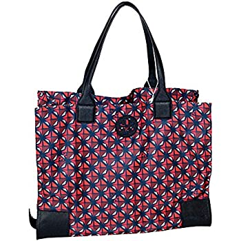 c5426adf1b7 Tory Burch Ella Printed Packable Nylon Tote Women s Handbag (Collage Geo  614)