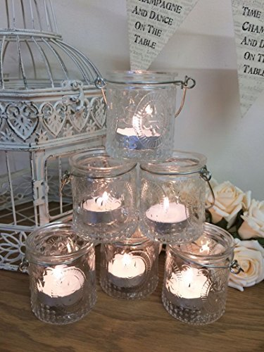 Set of 6 Vintage Glass Tea Light Holders Candle Votive Hanging Jars Wedding Decoration by Homes on Trend by Homes on Trend