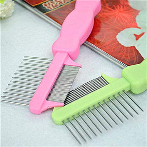 Hamanding Pet Dual-use Needle Comb Double Side Dog Comb Cat Dog Brush Grooming Comb Fashion Clean (Green)