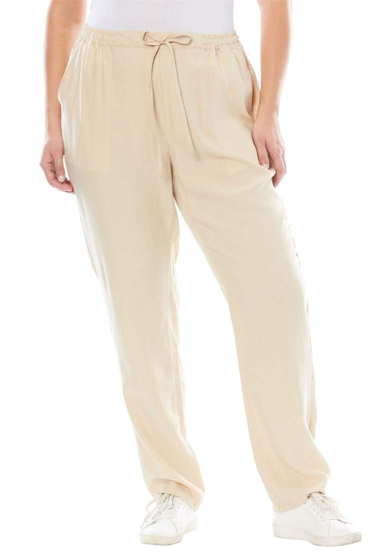Jessica London Women's Plus Size Tencel Drawstring Pants Light Sand,24