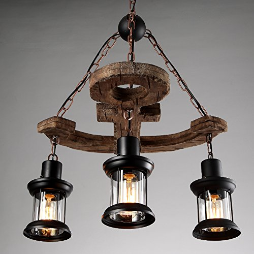 LightInTheBox 3 Heads Industrial Loft Style Amercian Countryside Vintage Wooden Chandelier Lamp Pendent Lighting Fixture for the Foyer / Coffee Room / Bar Decorate Pendant