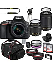 $979 » Nikon D5600 DX-Format DSLR Two Lens Import Kit with AF-P DX NIKKOR 18-55mm f/3.5-5.6G VR & AF-P DX NIKKOR 70-300mm f/4.5-6.3G ED + Deluxe Accessory Bundle Included Extra Lenses Memory Cards and More