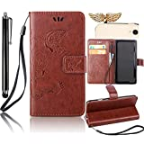 Sunroyal Huawei NEXUS 6P Embossed Butterfly Flower Wallet Case Cover , ,Premium PU Leather Folio Flip Wallet Cell Phone Case Cover in Book Style with Card Slots Sleeve & Magnetic Closure & Detachable Wrist Hand Strap [ Stand Function ] + 1x Bling Sparkling Shinny Glitter Rhinestone Diamond Anti Dust Plug + 1x Metal Stylus Touch Pen , Brown