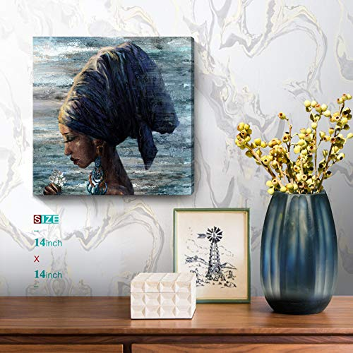 African American Wall Art Abstract Beauty Black Woman with Indian Headband and Earrings Portrait Picture Blue Brown Canvas Print Framed Artwork for Wall Decor Bedroom Bathroom Living Room 14x14inch