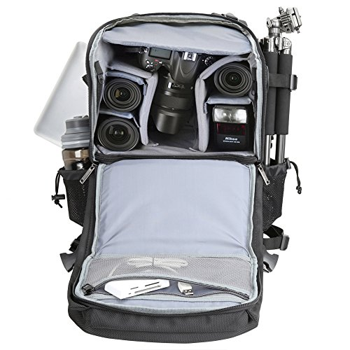 Olympus grey More Large Panasonic Backpack w Extra Cover for DSLR Bag Canon Gadget Camera Pentax Samsung Sony black Rain Fujifilm and Black Laptop Travel Evecase Nikon 1Ugw45q4