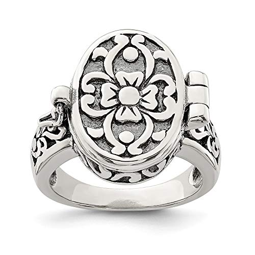 925 Sterling Silver Antique Locket Band Ring Size 7.00 Fine Jewelry Gifts For Women For Her