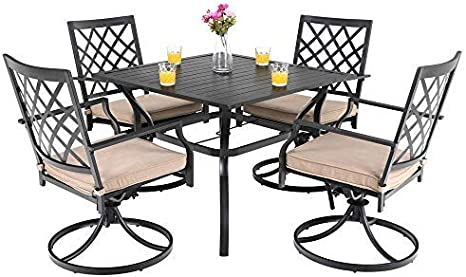 Phi Villa Outdoor Patio Furniture 5 Piece Dining Set With 37 Larger Dining Table And 4 Swivel Arm Chairs Amazon Co Uk Garden Outdoors